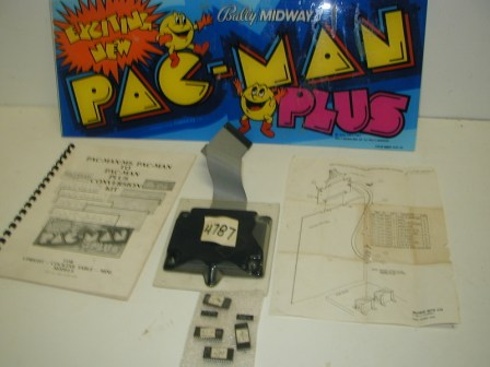 Pac-Man Plus Conversion Kit (Untested / May Be Missing Chips, There Are 6 Chips But Doesnt Look Like All Are Roms / There Is Glue Residue On Marquee / Sold As Is / Unknown Operational Condition) (Item #34) $44.99